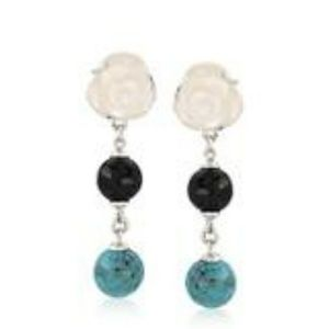 Sterling Flower MOP blk agate turquoise earrings